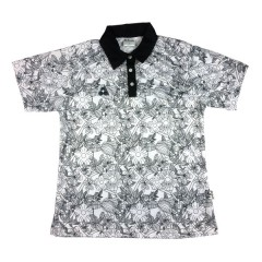 Henselite Ladies Botanical Polo White/Black